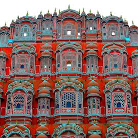 by PINAKI MITRA - Buildings & Architecture Public & Historical ( jharokha, hawa mahal, wind, red, jaipur, rajasthan, stone, sandstone, pink, india, palace )