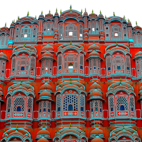 by PINAKI MITRA - Buildings & Architecture Public & Historical ( jharokha, hawa mahal, wind, red, jaipur, rajasthan, stone, sandstone, pink, india, palace )