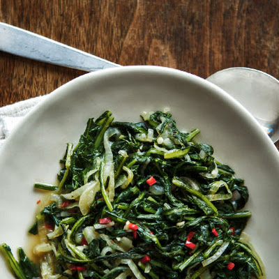 Sautéed Spicy Dandelion Greens and Onions