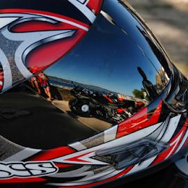 Motoreflex by Antonio Amen - Transportation Motorcycles ( motocycle, colorful, helmet, reflex )