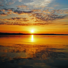 End of a long day by Matt McClintock - Landscapes Sunsets & Sunrises ( #sunset #sun #lake #water )