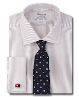 Slim Fit Burgundy Fine Stripe Poplin Shirt