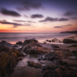 by Susan Liepa - Landscapes Sunsets & Sunrises ( crystal cove state park, crystal cove, sunset, rock, ocean, rocks )
