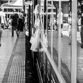 Lines by Adi Radu - City,  Street & Park  Street Scenes ( train station, black and white, street )