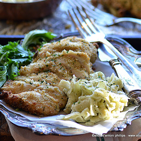 Italian Breaded Chicken With Alfredo Pasta
