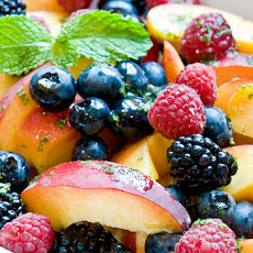 Peaches & Berries with Lemon-Mint Syrup