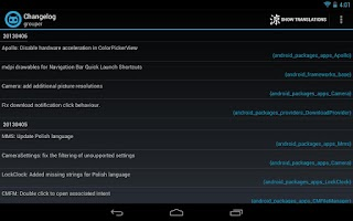 Screenshot of Better CyanogenMod Changelog