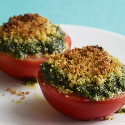 Quick Pesto with Broiled Tomatoes