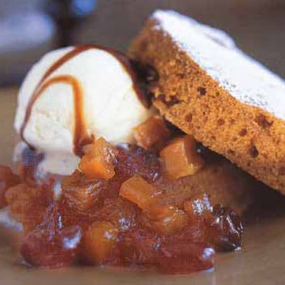 Pumpkin Cake with Sage Ice Cream and Pumpkin Cherry Compote