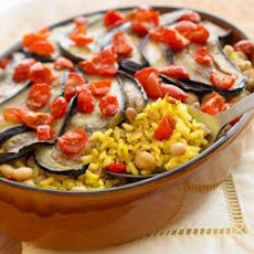 Vegetarian Oven-Baked Brown and Wild Rice with Eggplant