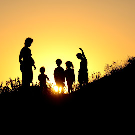 A Growing Family by Scott Cove - People Family ( sunset, silhouette, family, outdoor, dusk, portrait,  )