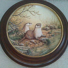 Otters by Lyz Amer - Artistic Objects Cups, Plates & Utensils ( otter )