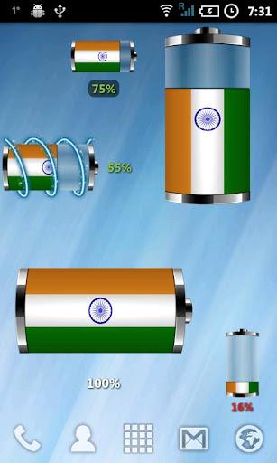 印度 - 國旗電池Wiget
