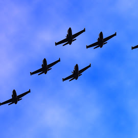 In formation  by Paul Turner - Transportation Airplanes ( jets in formation )