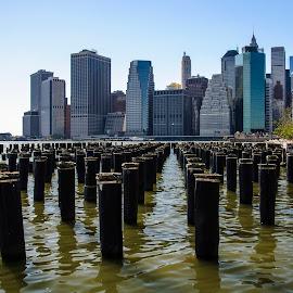 New Foundations by Jon Feldman - City,  Street & Park  Skylines ( piers, pattern, nyc, rythm, brooklyn )