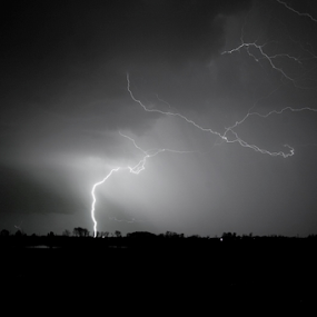 Lightning Strike by Joe Boyle - Landscapes Weather ( field, lightning, sky, white, pwcbwlandscapes, storm, black )