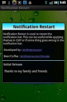 Screenshot of Notification Restart