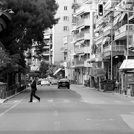 Road by Tasos Triantafyllou - City,  Street & Park  Neighborhoods ( black and white, greece, s treet, road, nikon,  )