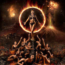 Tribe Queen by Íce Zorrilla - Digital Art People ( girls, sexy, queen, tribe, onegirl, gold, multiplicity, blackice, firequeen, fire )