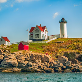 New England Lighthouse by Sheldon Anderson - Landscapes Waterscapes ( water, fall colors, new england, fall, scenic )