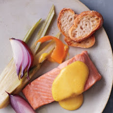 Poached Salmon with Grapefruit Olive Oil Hollandaise Sauce