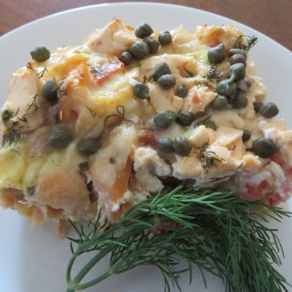 SMOKED SALMON WITH CAPERS BREAKFAST CASSEROLE
