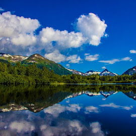 Near portage glacier, Alaska by Jason Holden - Landscapes Waterscapes ( reflection, mountains, alaska, snow, lake, pond )