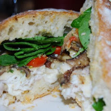 Parmesan Crusted Fish & Portobello Ciabatta Sandwich