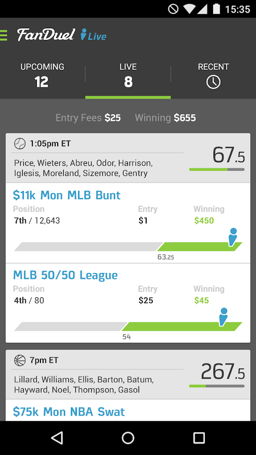 FanDuel Live Scoring Screenshot