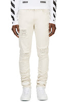 Off_white Off_white Distressed Natural Denim Jeans