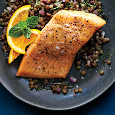Roasted Arctic Char with Orange-Lentil Salad