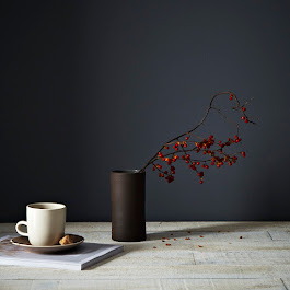 Narrow Brown Cylinder Vase