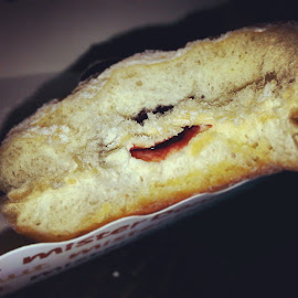 Strawberry jam-filled donut at Mister Donut Suvarnabhumi airport, Th by Tim Anthony Manuel - Food & Drink Cooking & Baking