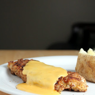 Pretzel Chicken With Mustard Cheese Sauce