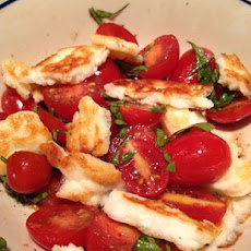 Garden Fresh Tomato Basil Salad with Halloumi Cheese from a CleverCajun
