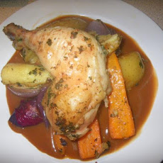 Tray Roasted Chicken Legs and Winter Vegetables
