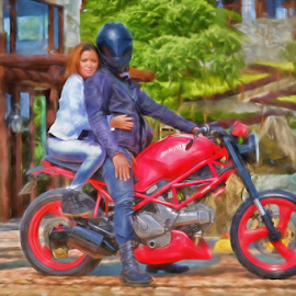 Ducatti Rider & Gal by Ferdinand Ludo - Digital Art People ( balamban, ducatti rider, cebu city, west 35, backrider )