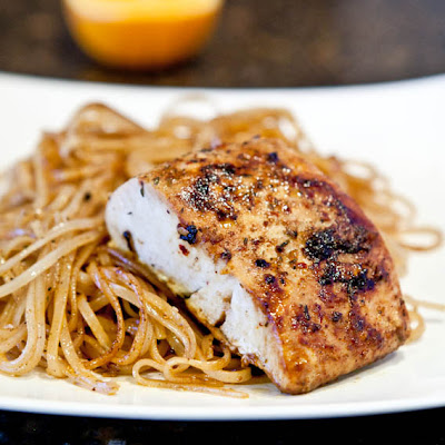 Pan-Seared Caribbean Citrus Mahi Mahi with Brown Rice Noodles (Gluten Free)