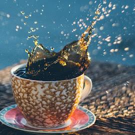 Coffee  by Chensi Vo - Food & Drink Alcohol & Drinks ( cup, broken, drop, coffee, bokeh )