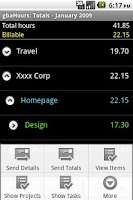Screenshot of gbaHours Trial Time Tracking