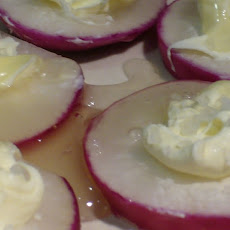 Radish, Mascarpone, Honey, Salt