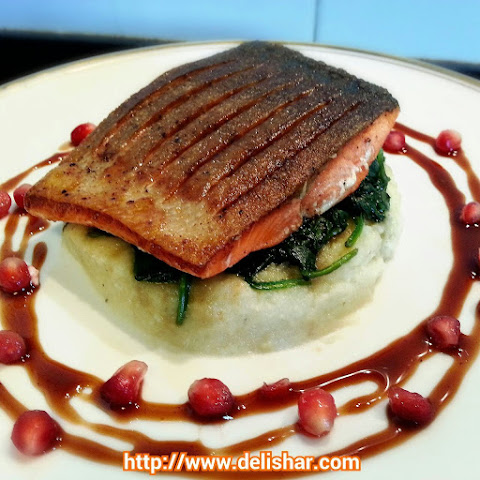 Crispy Skin Salmon with Pomegranate Maple Balsamic Glaze