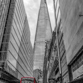The shard by Vibeke Friis - City,  Street & Park  Street Scenes ( the shard, london, double decker bus,  )