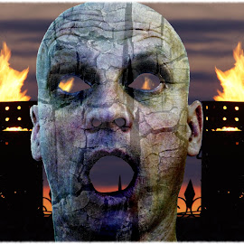 Burnt out by Joerg Schlagheck - Digital Art People ( face, flames, burnt out, head., death, burnt, stress,  )