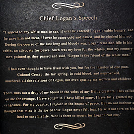 Chief Logan's Speech by Linda Blevins - Typography Quotes & Sentences ( speech, monument, historical )