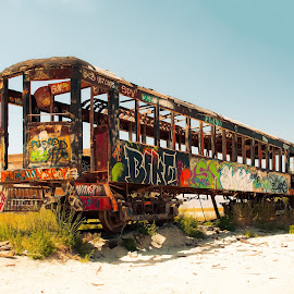 Time at the Beach by Boyd Smith - City,  Street & Park  Historic Districts ( sand, grass, rail car, graffitti,  )