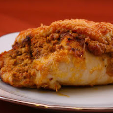 Baked Chicken Stuffed with Sun-Dried Tomato Pesto, Basil, and Goat Cheese