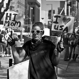. by Krystle-lee Dodson - News & Events Politics ( black and white, protest, sunglasses, usa, city,  )
