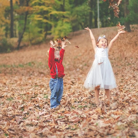 Leaves by Krystal Ferington-Timozek - Babies & Children Children Candids ( throwing leaves, fall, forest, fun, kids, leaves, toddlers )