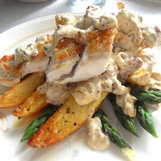 Chicken, Asparagus and Potatoes in a Garlic Cream Sauce